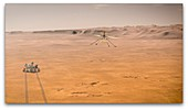 Mars 2020 rover and helicopter on Mars, illustration