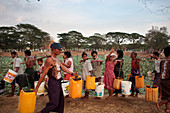 People queuing for water, Myanmar