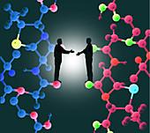 Scientific collaboration, conceptual illustration