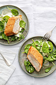 Fried zander and salmon strudel with spinach salad