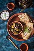 Indian okra vegetables with unleavened bread