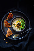 Indian mushroom soup with sweetcorn