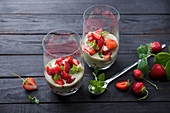 Vegan basil yoghurt with strawberries
