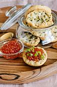 Red salmon caviar and crispy garlic bread