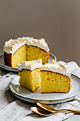 Single-layer turmeric cake with classic cream-cheese frosting