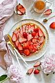Fit omelette with strawberries