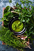 Green pesto with fresh herbs and asparagus