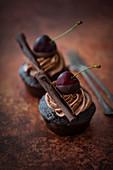 Vegan chilli chocolate cupcakes with cherries