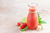 A strawberry and lime smoothie
