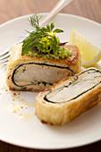 Fish in strudel pastry