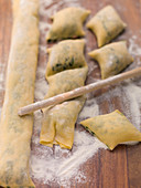 Maultaschen (Swabian ravioli) filled with spinach and cream cheese