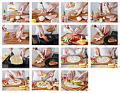 Preparing tortilla with chicken meat
