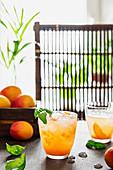 Apricot lemonade with bazil