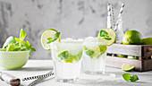Mojito-Cocktails mit Minze und Limettenscheiben