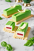 Mousse cakes with basil and strawberry