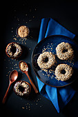 Donuts with chocolate glaze and waffle crumbs