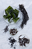 Wakame (top), arame (middle) and hijiki (bottom)