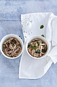 Soba noodles with algae pesto