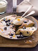 Blueberry pancake with mascarpone cream