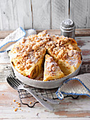 Baked apple cake with butter crumbs