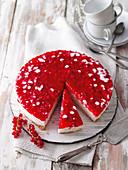 Rice cake with a crispy base and redcurrant glaze