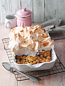 Gooseberry French toast gratin with a meringue topping