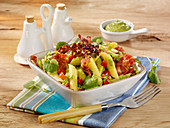Pasta salad with bacon and a mint and pea dressing