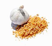 A garlic bulb and fried garlic