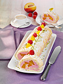 Peach melba roll with raspberry cream
