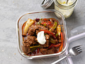Lamb and mushroom stew with peppers