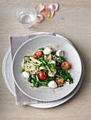 Chard and rocket vegetables on konjac pasta with tomatoes and mozzarella