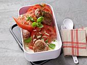 Pork loin with tomato salad