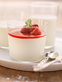 Sour cream mousse with a raspberry glaze
