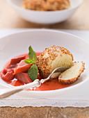 Pot dumplings with rhubarb compote