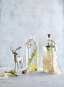 Gin infused with spices and herbs as present
