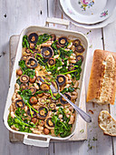 Baked mushrooms with spinach and white beans
