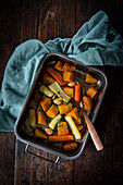 Roasted carrots and yellow beets