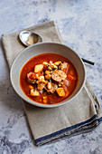 Homemade minestrone soup with Italian sausage