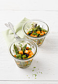Sweet potato salad with green asparagus and sheep's cheese