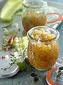 A jar of cucumber and shallot chutney