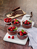 Chocolate crème brûlée with raspberries