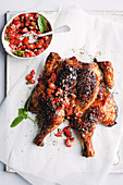 Strawberry and black pepper barbecue chicken with strawberry salsa