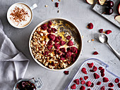 Muesli with dried raspberries