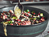 Lentil salad with octopus and a tahini dressing