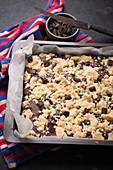 Vegan chocolate and vanilla brookie with dark chocolate chips