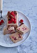 Chocolate-raspberry ice cream sandwich