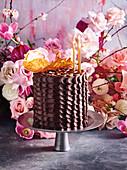Chocolate layer cake with 'nougat' honey cream