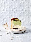 Pistachio chocolate chip ice cream cake