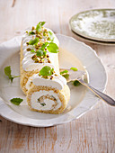 Pistachio roll with lemon balm