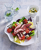 Salad with flank steak and marinated cheese